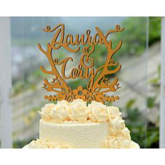 Kakepynt Personalisert Hjerter / Klassisk Par Kort Papir Bryllup / Jubileum / Bridal Shower Gull Blomster Tema / Eventyr Tema 1Polyester