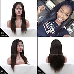 billiga Peruker och hårförlängning-Äkta hår Hel-spets / Spetsfront Peruk Rak 130% Densitet Naturlig hårlinje / Afro-amerikansk peruk / 100 % handbundet Dam Korta / Mellan / Lång Äkta peruker med hätta