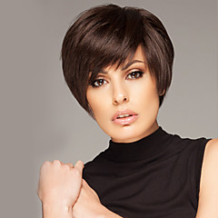 cheap Wigs & Hair Pieces-Inexpensive Short Straight Human Virgin Remy Hair Hand Tied Top Female Capless Wig