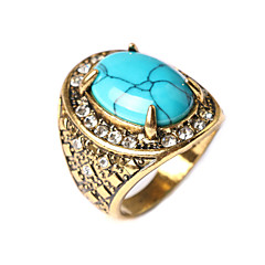 New Vintage Women's Turquoise Oval-shaped Geometric Rhinestone Ring