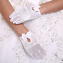 cheap Party Gloves-Spandex Wrist Length Glove Party/ Evening Gloves Flower Girl Gloves With Bowknot Pearl
