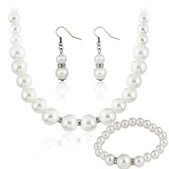 Women's Rhinestone Party Gift Imitation Pearl Earrings Necklaces