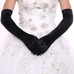 Black Opera Length Fingertips Glove Spandex  Bride Gloves with DIY Pearls and Rhinestones