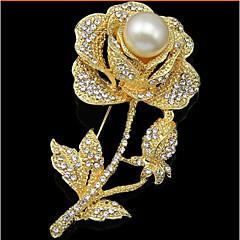 Lucky Doll  Rose Gold Plated Diamonade Zirconia Imitation Pearl Rose Brooch