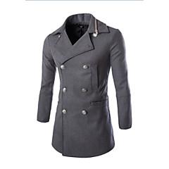 Herren Solide Einfach Lässig/Alltäglich Mantel,V-Ausschnitt Herbst Winter Ärmellos Standard Baumwolle