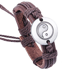 cheap -Men's Leather Weave Adjustable Bracelet with TAIJI the Great ultimate