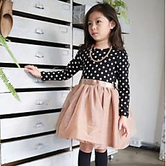 baratos Roupas de Meninas-Menina de Vestido Primavera Outono Poliéster Manga Longa Pontos Branco Preto