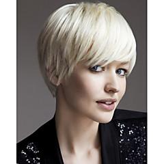 billiga Peruker och hårförlängning-Syntetiska peruker Rak Blond Syntetiskt hår Blond Peruk Dam Utan lock Vit