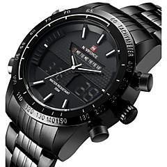 NAVIFORCE Herrn Sportuhr Armbanduhr Japanisch Quartz LED Kalender Wasserdicht Duale Zeitzonen Alarm Stopuhr Edelstahl Band Cool Luxuriös