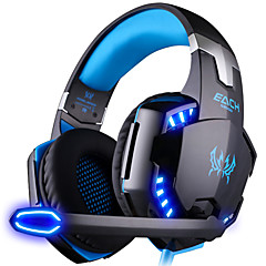 cheap Over-Ear Headphones-KOTION EACH G2000 Over Ear Headband Wired Headphones Plastic Gaming Earphone Noise-isolating with Microphone with Volume Control Luminous