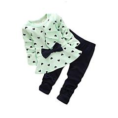 billige Tøjsæt til piger-Pige Tøjsæt I-byen-tøj Bomuld Forår Efterår Langærmet Rosette Gul Grøn Lys pink