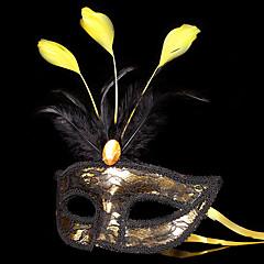 Engel & Teufel Maske Maskerade Unisex Halloween Karneval Fest / Feiertage Halloween Kostüme Golden + schwarz Patchwork