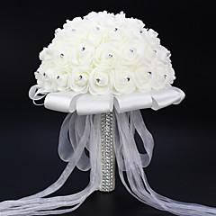 """Flori de Nuntă Rotund Trandafiri Buchete Nuntă Petrecere / Seară Satin Satin Elasticizat Ștras 7.87""""(Approx.20cm)"""