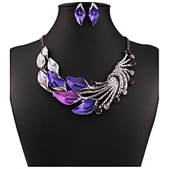 MPL Retro color drop oil plus drill Leaf Necklace Earrings Set