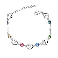 cheap -Hot New Charming Lovely Simple Bling Heart Crystal Bracelet Bangle Party Jewelry For Women