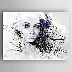 billiga Oljemålningar-Hang målad oljemålning HANDMÅLAD - Människor Moderna Inkludera innerram / Sträckt kanfas