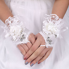 cheap Party Gloves-Silk Elastic Satin Wrist Length Glove Bridal Gloves With Bowknot