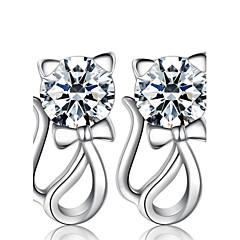 女性 スタッドピアス 模造ダイヤモンド ファッション 高級ジュエリー コスチュームジュエリー 真珠 純銀製 イミテーションダイヤモンド アニマル 猫 ジュエリー 用途 結婚式 パーティー 日常