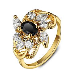 Ylellinen kukka puolue 18k kullattu musta strassi engagement rings naisten