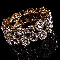 abordables Bracelets-Femme Strass Chaîne Bracelet Rond Alliage Bijoux Mariage Soirée Occasion spéciale Anniversaire Fiançailles Bijoux de fantaisie Or