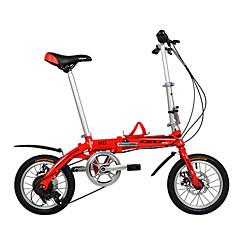 מתקפל אופניים רכיבת אופניים 6 מהירויות 14 אינץ' 44mm יוניסקס / גברים / נשים דיסק בלימה כפול רגיל שלדת סגסוגת אלומיניום קיפול DEQUILON