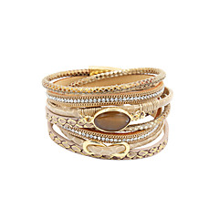 Women's Wrap Bracelet Luxury Multi Layer Handmade Personalized Costume Jewelry Leather Rhinestone Imitation Diamond Alloy Circle Infinity