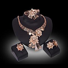 Női Kristály Szintetikus gyémánt Virágos Virágok luxus ékszer Strassz Arannyal bevont 18K arany Hamis gyémánt Ötvözet Flower Shape