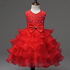tanie Odzież dla dziewczynek-Dzieci Dla dziewczynek Kokarda Jendolity kolor Bez rękawów Sukienka