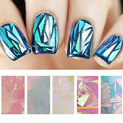 baratos -Outras Decorações-Abstracto- paraDedo- dePVC- com5pcs glass nail art foils-5cmX20cm each piece