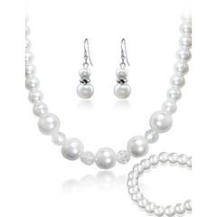 tanie Zestawy biżuterii-Damskie Perłowy Biżuteria Ustaw Bransoletka Náušnice Naszyjniki - Imprezowa Do biura Modny Paciorki White Zestawy biżuterii Na Impreza