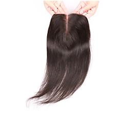 billiga Peruker och hårförlängning-Brasilianskt hår 100 % handbundet / 3.5x4 Stängning / Hel-spets Rak / Klassisk Fria delen / Mittparti / 3 Del Schweizisk spetsperuk Äkta hår Dagligen