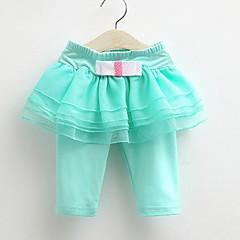 baratos Roupas de Meninas-Sólido Menina de Diário Algodão Primavera Verão Outono Todas as Estações Vestido De Renda Branco Roxo Rosa claro Azul Claro