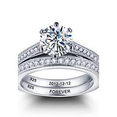 パーソナライズされた貴族の約束925スターリングシルバーカップルczの石の結婚指輪