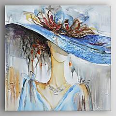 tanie Sztuka ścienna-Hang-Malowane obraz olejny Ręcznie malowane - Ludzie Nowoczesny Naciągnięte płótka / Rozciągnięte płótno