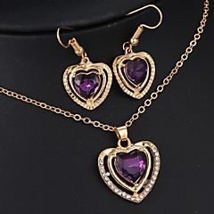 Conjunto de jóias Mulheres Aniversário / Casamento / Noivado Conjuntos de Joalharia Liga Esmeralda / Ametista Colares / Brincos Dourado