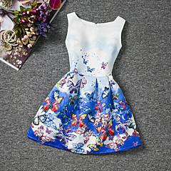 baratos Roupas de Meninas-Menina de Vestido Final de semana Para Noite Verão Algodão Sem Manga Floral Azul