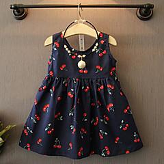 billige Pigekjoler-Baby Pige Blomster Kirsebær Trykt mønster Uden ærmer Kjole / Bomuld