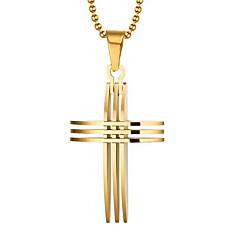 男性用 ペンダントネックレス ペンダント クロス ゴールドメッキ 18K 金 十字架 あり 欧風 コスチュームジュエリー ジュエリー 用途 日常 カジュアル