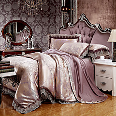 abordables Tissu de Maison-ensembles de housse de couette ensembles de literie jacquard 4 pièces de luxe en soie et coton mélangés />800 roi