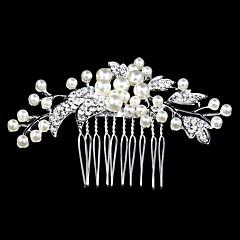baratos Acessórios de Cabelo-Pérola Cristal Strass Liga Pentes de cabelo 1 Casamento Ocasião Especial Casual Capacete