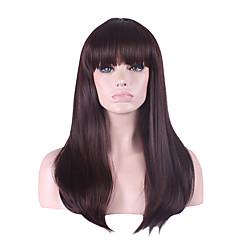 billiga Peruker och hårförlängning-Syntetiska peruker Rak Asymmetrisk frisyr / Med lugg Syntetiskt hår Naturlig hårlinje Brun Peruk Dam Lång Cosplay Peruk / Kostym Peruk /