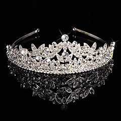 cheap Party Accessories-Brass Crystal Rhinestone Tiaras Headwear with Floral 1pc Wedding Special Occasion Headpiece