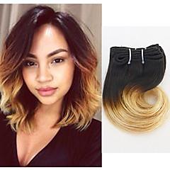 billiga Hårförlängningar av äkta hår-4 paket Indiskt hår Kroppsvågor 8A Äkta hår Nyans 8 tum Nyans Hårförlängning av äkta hår Människohår förlängningar