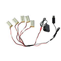 5pcs 3.7V 650mAh Batterie mit 1 bis 5 USB-Ladekabel Adapterteile für Syma x5C x5 x5sc rc quadcopter