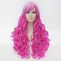 baratos Perucas Sintéticas-Perucas sintéticas / Perucas de Fantasia Mulheres Roxo Cabelo Sintético Roxo Peruca Muito longo Sem Touca Rosa