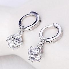 Mote Bedårende Personalisert Sølv Zirkonium Firkant Formet Sølv Smykker Til Bryllup Fest Daglig Avslappet 1 par
