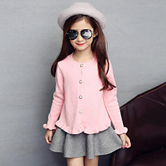 billige Sweaters og cardigans til piger-Pige Afslappet / Hverdag Ensfarvet Langærmet Trøje og cardigan
