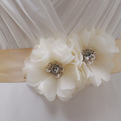 Satin Wedding Party/ Evening Dailywear Sash With Rhinestone Beading Floral