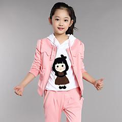 billige Tøjsæt til piger-Børn Pige Tegneserie Daglig Patchwork Langærmet Normal Normal Bomuld Tøjsæt Grå 140