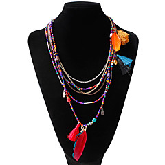 cheap Necklaces-Women's Strands Necklace - Bohemian Fashion Feather Necklace For Wedding